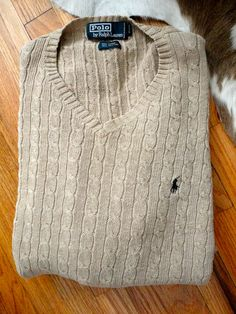 Vintage Ralph Lauren Polo Cable Knit V-Neck Sweater. Sz XL. Unisex.. $39.99, via Etsy.