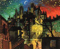 by Frans Masereel (Belgian 1889 - Moonlight Painting, Fauvism, Amazing Art, Watercolor Paintings, Modern Art, Lanterns, Art Drawings, Paris, Landscape