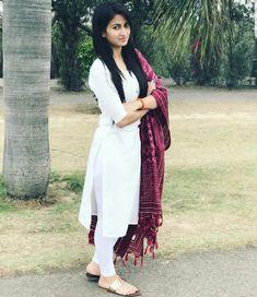 64 Trendy Ideas How To Wear White Heels SimpleNew Dress Outfit Heels Skirts 59 IdeasLatest White Ethnic Dress for women White Lehenga & Designer Dupatta Churidar Designs, Kurta Designs Women, Blouse Designs, Dress Indian Style, Indian Outfits, Indian Clothes, Indian Dresses, Trendy Dresses, Simple Dresses