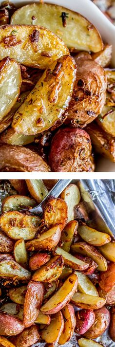 3 Ingredient Roasted Potatoes with Crunchy Onions from The Food Charlatan! These tender potatoes are easy and done SO fast because instead of adding a whole bunch of spices to make them delicious you just dump on some onion soup mix and throw it in the Vegetable Side Dishes, Vegetable Recipes, Vegetarian Recipes, Cooking Recipes, Cooking Fish, Freezer Cooking, Healthy Recipes, Potato Dishes, Food Dishes