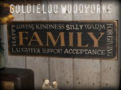 Primitive Folk Art Handmade Family Wall Sign by GoldieLooWoodworks, $24.00