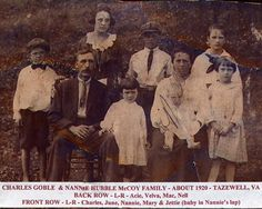 Charles Goble and Nannie Virginia Hubble McCoy family taken about 1920, just before Nannie died in 1922.