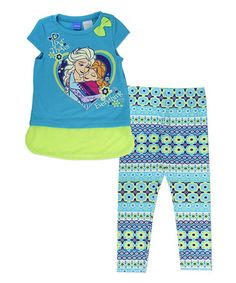 This Frozen Blue 'Love Thaws' Tee & Leggings - Toddler & Girls is perfect! #zulilyfinds