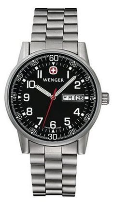 Wenger Commando Day-Date Watch, Mens Black Dial w/ Stainless Steel Bracelet 70163 Wenger. $175.00. Case Diameter - 40 MM. Wenger Commando Collection. Save 22%!