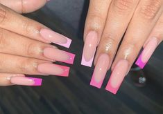 Most popular barbie pink acrylic nails with glitter Ideas French Tip Acrylic Nails, Long Square Acrylic Nails, Bling Acrylic Nails, Summer Acrylic Nails, Best Acrylic Nails, Long Square Nails, Tapered Square Nails, Bling Nails, Acrylic Nails Kylie Jenner