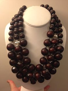 Chunky brown and silver 3-strand necklace