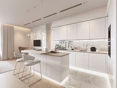 Contemporary style kitchen designs are among the methods to go. Luxury Kitchen Design, Kitchen Room Design, Kitchen Cabinet Design, Luxury Kitchens, Living Room Kitchen, Home Decor Kitchen, Interior Design Kitchen, Kitchen Ideas, Farmhouse Style Kitchen