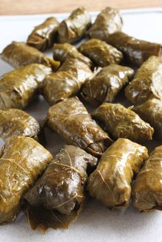 Stuffed grape leaves with lamb and mint In Erika's Kitchen: Lebanese stuffed grape leaves with lamb Lebanese Cuisine, Lebanese Recipes, Greek Recipes, Arabic Recipes, Rice Recipes, Lamb Recipes, Dessert Recipes, Eastern Cuisine, Arabic Food