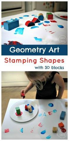 'Reverse' Geometry Art - stamping 2D shapes with 3D Blocks. Fun, creative, hands-on math for kids.