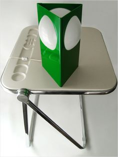 "Italian design lamp with ""Plia"" folding desk designed by Giancarlo Piretti for Castelli from c.1960 (both SOLD)"