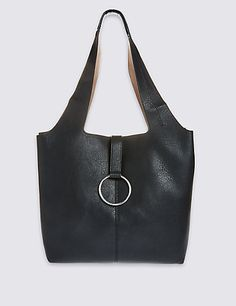 Faux Leather Ring Slouch Hobo Bag | M&S