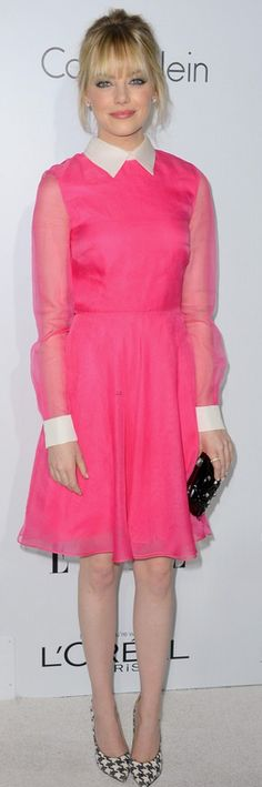 Who made Emma Stone's pink dress, pumps, clutch handbag, and jewelry that she wore in Beverly Hills on October 15, 2012? Dress and purse – Valentino  Shoes – Ferragamo  Earrings – Neil Lane  Ring – Irene Neuwirth