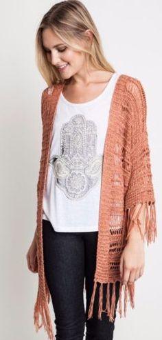 Umgee-Sheer-Knit-Sweater-Wrap-Fringe-Trim-Boho-Chic-Hippie-Gypsy-Blush-A9676 #Unique_Boho_Style