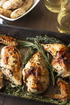 Roasted Chicken with White Wine & Fresh Herbs.