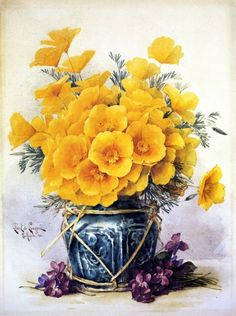"""""""California Poppies in Chinese Vase"""" watercolor on paper by Paul De Longpre, 1900"""