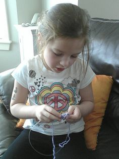 She's knitting!