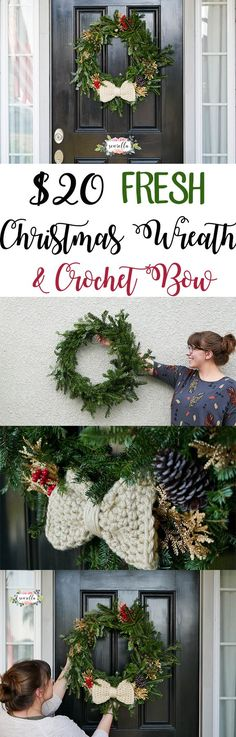 $20 FRESH Christmas Wreath with accents including a cute Crochet Bow! | Free Tutorial and Pattern from Sewrella
