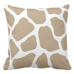 Neutral Giraffe Print Throw Pillow