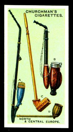 "https://flic.kr/p/8GDQQh | Cigarette Card - North European Pipes | Churchman's Cigarettes ""Pipes of the World"" (set of 25 issued in 1927) No20 North & Central Europe - A. Danish pipe with glazed porcelain bowl - B. Swiss pipe of similar design to A - C. Swedish wooden pipe - D. Norwegian brass pipe"