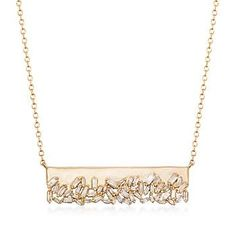 Ross-Simons - .59 ct. t.w. Baguette Diamond Bar Necklace in 14kt Yellow Gold - #870456