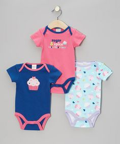 Look what I found on #zulily! Hot Pink, Blue & Light Blue 'Sugar & Spice' Bodysuit Set - Infant by Baby Gear #zulilyfinds