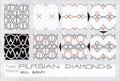 Persian Diamonds - tangle pattern by Neil Burley
