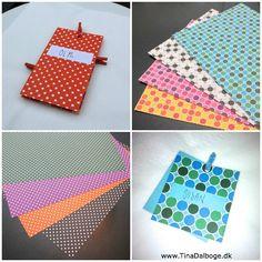 Mønstret karton - med polkaprikker på den ene side - lige til at lave bordkort, menukort og indbydelser...