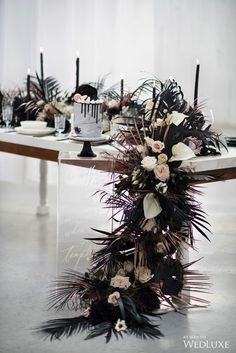 marble wedding cakes a black and white wedding tablescape with a cascading textural runner, black candles and a marble wedding cake Wedding Themes, Wedding Designs, Wedding Colors, Wedding Styles, Wedding Decorations, Wedding Reception Centerpieces, Wedding Ideas, White Wedding Cakes, Wedding Table