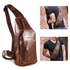 Bolso de couro de peito de negócio ocasional ombro masculino