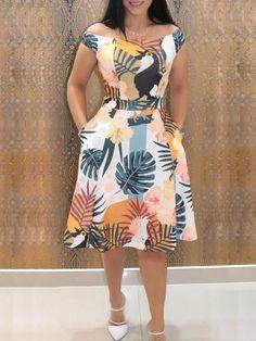 Mixed Print Off Shoulder Pocket Casual Dresses