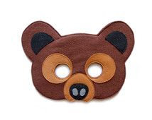 GRIZZLY BEAR Felt Mask - Ready to SHIP - Woodland animal mask - Kid Adult mask - Brown Bear costume - Pretend play - Grizzly Dress Up