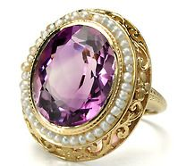 Seeded Vintage Beauty in an Amethyst Pearl Ring