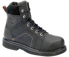 Harley-Davidson footwear men's Pete Steel Toe work boots. This heavy duty style features a leather upper, ShockAbsorbers Twin Pad comfort technology, and Goodyear welt construction.