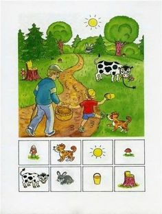 Find the picture - Encuentra la imágen Fall Preschool Activities, Speech Therapy Activities, Educational Activities, Learning Activities, Teaching Kids, Kids Learning, Such Und Find, Montessori Math, Hidden Pictures