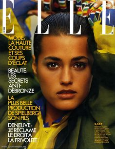 Yasmin Le Bon featured on the Elle France cover from September 1985 Famous Supermodels, Original Supermodels, Yasmin Le Bon, Fashion Magazine Cover, Fashion Cover, Magazine Covers, Veronica Webb, Mod Hair, Sam Mcknight