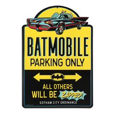 Open Road Media Batman 'Batmobile Parking Only' Embossed Tin Wall Art Batman Wall Art, License Plate Art, Batman Batmobile, Open Signs, Batcave, Print Coupons, Metal Wall Decor, Wall Art Quotes, Kids House
