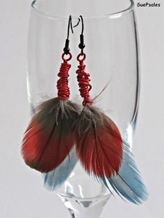 Red and Blue Feather Earrings Greenwing Macaw Feather by SuePsales, $12.00