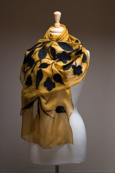 Felted Scarf, Nuno felt shawl, Silk chiffon shawl with wool flowers and leaves, Soft and light, Gold, Mustard, Black flowers and leaves $78