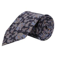 A silk tie in blue, interspersed with saffron and sky blue,like the peek of spring.
