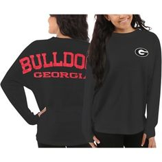 Georgia Bulldogs Women's Sweeper Long Sleeve Oversized Top – Gray