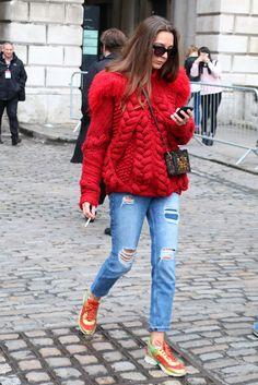 Latest Fashion Week Street Style. Best knit ever at London Fashion Week Autumn 2015 #LFW