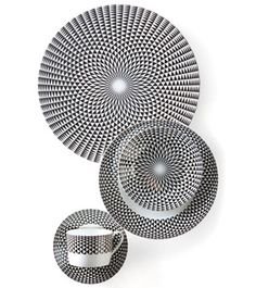 Black Diamonds, a porcelain pattern by the French firm Royal Limoges, brings mesmerizing optical designs to the table. The five-piece setting, $295, includes a teacup and saucer, a dessert plate, a bread-and-butter plate, and a dinner plate (not shown). Additional serving pieces include a charger, $150, top. The collection is available at Michael C. Fina. 888-908-9640; michaelcfina.com #registry