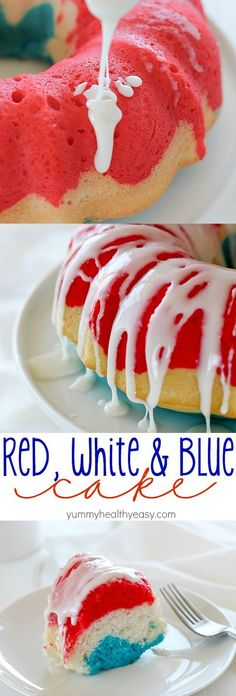 A fun, easy red white & blue cake that you can whip together for a last minute, delicious 4th of July dessert!