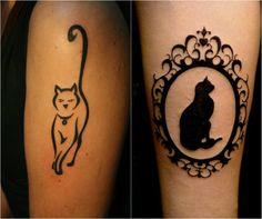 tatouage chat noir miroir baroque et chat stylisé à contours épais