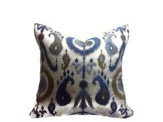 ADD A PRETTY LOOK TO ANY ROOM  WITH THIS PILLOW COVER (1)  Colors include grey, blue and brown.  PRINTED FABRIC ON BOTH SIDES  The placement of the pattern may vary 100% cotton fabric Dry Clean  I also do custom orders  Please email me if you would like a different size or a different fabric or  if you would like to purchase just one pillow when a pair is listed