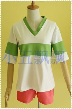 Hot sales Japanese anime Spirited Away Chihiro Ogino Sen Cosplay Costume (T shirt + shorts)