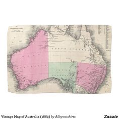 Vintage Map of Australia (1862) Hand Towels