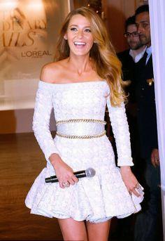 Beautiful little Balmain white dress on Blake Lively