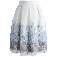 Chicwish Lavender Paradise Organza Pleated Skirt (175 PLN) ❤ liked on Polyvore featuring skirts, bottoms, white, lavender skirt, flower skirt, light purple skirt, white pleated skirt and knee length pleated skirt