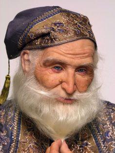 Купить Чародей - бежевый, голубой, чародей, волшебник, кумган, зотова наталия, livingdoll, антикварный шёлк